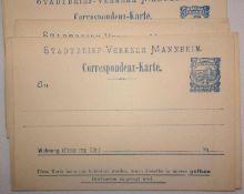 1900, Stadtbrief-Verkehr Mannheim, ca. 49 Postkarten 2 Pf blau, ungebraucht, im Katalog Meier zu Ei