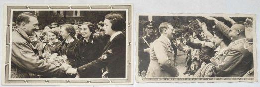"""3. Reich, zwei AK: """"Beim Führer auf dem Obersalzberg"""" und mit BDM - Mädel.3rd Reich, two AK: """"At"""