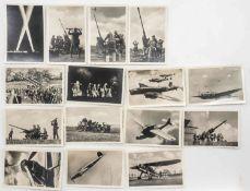 Deutschland 3. Reich, Lot Echtfotografien, 6 x Fliegerserie 2 und 9 x Flakserie 20. Alle unterschie