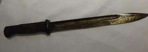 Messerbajonett, wohl Großbritannien, frühe Ausführung. Klingenlänge ca. 24 cm, Gesamtlänge ca.