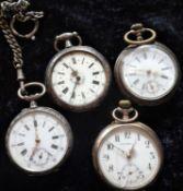 Bastlerlot von 4 silbernen Taschenuhren, ohne FunktionHobbyist solder of 4 silver pocket watches, w