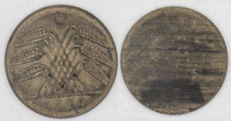 Weimarer Republik 1924 D, 50 Rentenpfennig, FEHLPRÄGUNG, Revers mit Ähren Normalprägung, Avers n