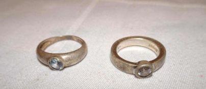2 Damenring, 925er Silber, verschiedene Modelle. Ringgröße 1x 56,5, 1x 53. Gewicht ca. 10,5 gr.2