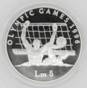 Olympische Spiele Malta, 5 Malta Pfund, 925/1000 Silber. Wasserball. Mit Zertifikat.Olympic Games M