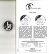Olympische Spiele, West-Samoa, 10 Dollars, 925/1000er Silber. Turner. Mit Zertifikat.Olympic Games,