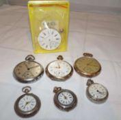 Bastlerkonvolut Taschenuhren, insgesamt 6 Uhren, darunter 4x Silber und 1 Seeland Watch UhrenwerkHa