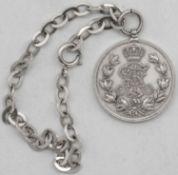 Sachsen - Albertinische Linie, Friedrich - August - Medaille, Silber, an 835er Silber - Armband. Ge