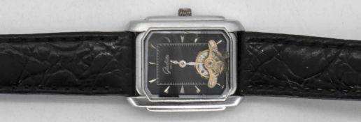 Glashütte original No. 125 Armbanduhr, sichtbare Unruh, schwarzes Zifferblatt, Krokodil - Lederarm