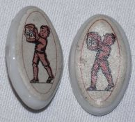 "Zwei Anstecker ""HK"", 1 x fehlende Nadel, oval ca. 3 x ca. 1,8 cm.Two ""HK"" badges, 1 x missing needl"