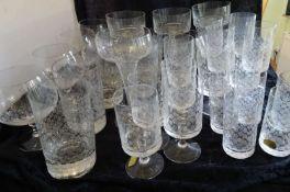 Rosenthal Romanze, designd Björn Wiindblad - Glasserie, bestehend aus 5 Schnapsgläser, 6 Likörgl