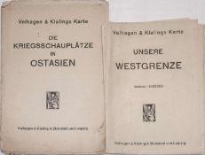 Zwei große Landkarten Westgrenze und Kriegsschauplatz Ostasien, 1. WK.Two large maps of the wester