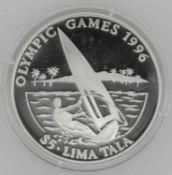 Olympische Spiele Tokelau, 5 / Lima Tala, 925/1000 Silber. Windsurfen. Mit Zertifikat.Olympic Games