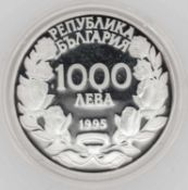 Olympische Spiele Bulgarien, 1000 Lewa, 925/1000 Silber.Springreiten. Mit Zertifikat.Olympic Games