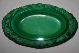 Eine Gablonz Slevogt Malachit Glasschale, Art Deco. Guter Zustand. Länge ca. 15 cm, Tiefe ca. 9,5