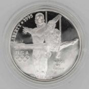 Olympische Spiele USA, 1 Dollar, Gymnastik / Ineinandergefaßte Hände / Atlanta. Mit Zertifikat.Ol