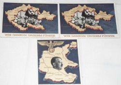 """3. Reich, drei GA - Postkarten, """"Wir danken unserem Führer / Ein Volk ein Reich"""".3rd Reich, three"""
