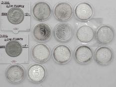 """BRD Lot 5.- DM - Münzern """"Silberadler"""". Insgesamt 13 Münzen. Dazu 1958 D+F, 2. DM Max Planck. Erh"""