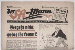 """Zeitschrift """"Der SA - Mann"""". Von 1938, Frankenausgabe.""""Der SA - Mann"""" magazine. From 1938, Swiss fr"""