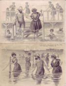 Vier Ansichtskarten, Weltpostverein Nr. 2, 3, 4 und 6. Prägekarten. Bademoden. Nicht gelaufen.Four