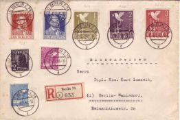 Alliierte Besetzung Gemeinschaftsausgabe, R - Brief aus und nach Berlin (Ortsbeleg) mit u.a. Mi. -