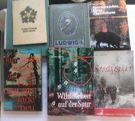 """Lot Bücher zum Thema Jagd, dabei """"Wilddieben auff der Spur"""", """"Sonntagsjäger"""", """"Sternstunden eines"""