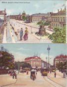 Vier Ansichtskarten, Farbkarten, Ansichten Berlins um die Jahrhundertwende. Gelaufen.Four postcards