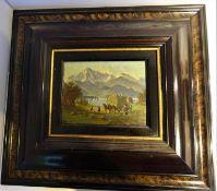"""Karl Winkler, München (1827-1874), Ölgemälde auf Holzplatte """"Heuernte in der Voralpen"""", links un"""