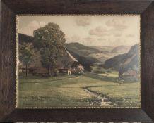 "A. Lyongrün (1871 - 1935), ""Schwarzwald - Idylle"", Ölgemälde, hinter Glas gerahmt, Maße: Breite"