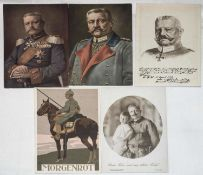 5 Patriotika - Postkarten Hindenburg / Kaiser Wilhelm II., 1. WK.5 Patriotica - Postcards Hindenbu