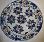 antiker Keramikteller um 1830, mit floraler Malerei. Durchmesser ca. 22 cm, bestoßen.antique ceram