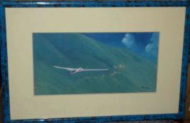 "Zarec 95, Ölgemälde auf Leinwand, ""Segelflieger mit Bergsdorf"", hinter Glas gerahmt, Gemäldemaß"
