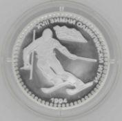 Olympische Spiele Bulgarien, 50 Lewa, 925/1000 Silber. Abfahrtsläufer. Mit Zertifikat.Olympic Game