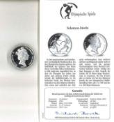 Olympische Spiele Solomon-Inseln, 10 Dollars, 925/1000 Silber, Staffellauf. Mit Zertifikat.Olympic