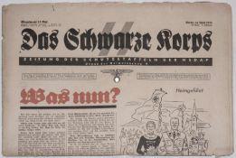 """Das Schwarze Korps"". Zeitung der ""SS - NSDAP"" mit 3 Seiten Judaica.""The Black Corps"". ""SS - NSDAP"""