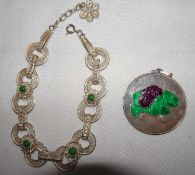 2 Teile Silberschmuck, dabei 1 Anhänger mit Emaille, sowie 1 Armband.2 pieces of silver jewelry, i