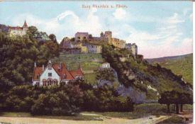 """AK """"Burg Rheinfels a. Rhein"""". Farbkarte. Rückseitig mit eingedruckten Glückwunsch der Fa. Asbach"""