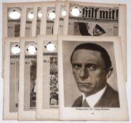 """10 Hefte """"Hilf mit"""". Deutsche Schülerzeitung 1933/34. Meist gut.10 booklets """"Help with"""". German sc"""
