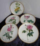 """Hutschenreuther Wandteller """"Blumen"""", verschiedene Modelle. Insgesamt 5 Stück. Durchmesser ca. 16 c"""