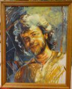 """ungedeuteter Künstler, Ölgemälde auf Leinwand """"Männerkopf Phantasie"""" rechts unten Signatur, ung"""