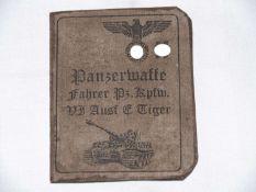 """Panzerführerschein / Panzerwaffenfahrer """"SS"""" für Tiger - Panzer.Tank driving license / tank gun d"""