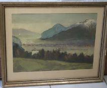 "Raimund Wörle (1896-1979), Ölgemälde auf Papier (Öltempera) ""Innsbruck"", links unten Signatur R"