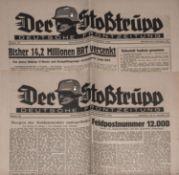 """2 Zeitschriften """"Der Stoßtrupp"""", deutsche Frontzeitung 1941 + 1942, gute Erhaltung.2 magazines """"De"""