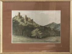 """Offsetdruck nach einem Bild von Karl Graf, """"Alt - Dahn"""". Hinter Glas gerahmt. Maße: ca. 46 cm x ca"""