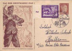 Drittes Reich 1942, Ganzsache P 308/04 mit Sonderstempel und Zusatzfrankatur. Gelaufen.Third Reich