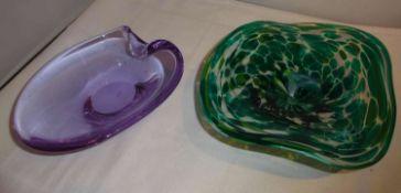 2 Glasschalen Murano / bayr. Wald. Guter Zustand2 glass bowls Murano / Bavarian. Forest. Good condi