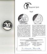 Olympische Spiele Nepal, 500 Rupees, 925/1000 Silber. Ski-Langlauf. Mit Zertifikat.Olympic Games Ne