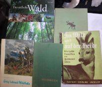 """Lot Bücher zum Thema Jagd, dabei """"Im Wald und auf der Heide"""", """"Hochwild zieht durch die Wälder"""","""