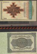 Lot Banknoten in der Mappe, meist Deutschland. 14 Scheine, verschiedene bis gute Erhaltungen.Lot of