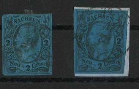 Sachsen 1855/1856, Mir Nr. 10 a+c, gestempeltSaxony 1855/1856, Mir No. 10 a + c, stamped