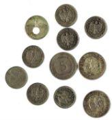 Lot Reichs- und DM, bestehend aus 2x 5 Mark, 1x 2 Mark Deutsches Reich, sowie 1x 5 Mark und 7x 1 Ma
